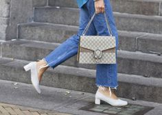 The Glove Heel- ripped +frayed jeans + denim tuxedo + canadian tux + street style Ballerinas, Boyfriend Jeans, Fashion Gone Rouge, Chunky Shoes, Double Denim, Chanel Boy Bag, New Shoes, New Trends, Fashion Shoes