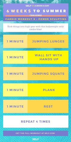 Turn up the heat with this sculpting cardio routine! Work your whole body anytime, anywhere. #6WeeksToSummer 6 Week Workout, Workout Challenge, Fitness Diet, Fitness Motivation, Health Fitness, Train Hard, Cardio Routine, Routine Work, Fun Workouts