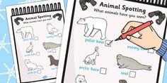 Polar Regions Animal Spotting Form - Arctic, winter, explorer, South Pole, activity, worksheet, fox, hare, polar bear, penguin, huskey, snow, winter, frost, cold, ice, hat, gloves