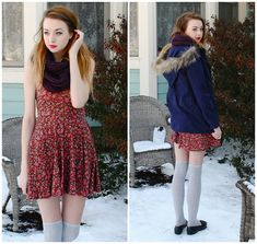 thigh high socks + knit infinity scarf + dress = happiness