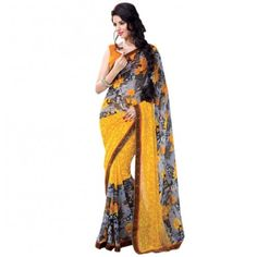 Georgette Sequins Work Yellow & Grey Floral Print Designer Saree - 256B #Yellow #grey #saree