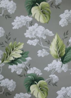 1940's Vintage Wallpaper Gray with Green Tropical Leaves | eBay