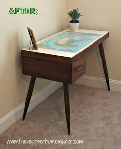 The Happier Homemaker: Vintage Map Desk Makeover