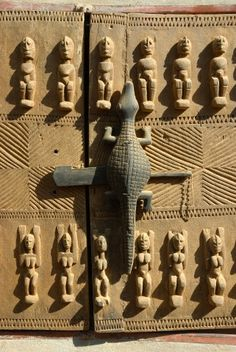 Beautiful carved door of the Dogon Country. Mali, West Africa