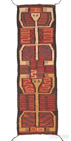 Pre-Columbian Textile Panel, Nazca, c. 200-600 A.D., with ties at the corners, the multicolored panel depicts two spider-man figur...  Estimate: $1000  - 1500  Sold for $3,063