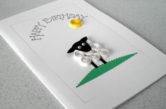 Handmade quilled birthday greeting card with quilling sheep