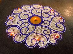 #mandala Indian Rangoli Designs, Rangoli Designs Flower, Rangoli Border Designs, Rangoli Designs With Dots, Flower Rangoli, Beautiful Rangoli Designs, Mehndi Designs, Rangoli Borders, Rangoli Patterns