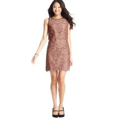 $100-$200: Our go-to fabric for an immediate formal feel is lace, and we're loving the neutral shade of this Loft sheath ($118).