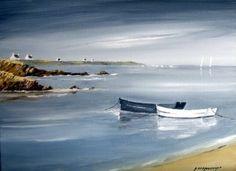 les barques Blanche et noire (Peinture), 5x27x35 cm par André Kermorvant 5F Huile sur toile La bretagne et ses barques, la couleur du soir