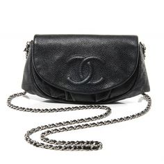 eac01d153334 CHANEL Caviar Half Moon Wallet On Chain in Black. This stunning baguette is  beautifully crafted