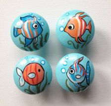Fish Drawer Pulls / Knobs and Pulls / Baby Nursery Decor Baby Shower Gifts , Dresser Knobs / Underwater Nursery Decor / Fish Nursery Decor Fish Drawer Pulls / Dresser Knobs / Closet Handles / Hand Painted for Boys, Girls, Kids, Nursery Rooms Pebble Painting, Pebble Art, Stone Painting, Stone Crafts, Rock Crafts, Arts And Crafts, Knobs And Pulls, Drawer Pulls, Fishing Nursery