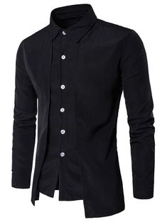 Vska Mens Fashion Long Sleeve Turn-Down Collar Buttoned Work Shirt