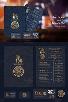 Explore more than ready to use stationery templates including branding kits, media kits, and calendar templates for use at home and at work. Food Menu Template, Restaurant Menu Template, Restaurant Menu Design, Thai Restaurant Menu, Drink Menu Design, Cafe Menu Design, Menu Card Design, Thai Food Menu, Menue Design
