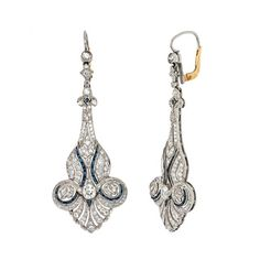 Pre-owned Platinum 3 1/5ct TDW Diamond and Sapphire Estate Earrings (G-H, VS1-VS2)