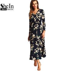 SheIn New Arrival  Women Maxi Dresses Navy Round Neck Long Sleeve Womens Fashion With Button Floral Long Party Dress $30.97   => Save up to 60% and Free Shipping => Order Now! #fashion #woman #shop #diy  http://www.greatdress.net/product/shein-new-arrival-2016-women-maxi-dresses-navy-round-neck-long-sleeve-womens-fashion-with-button-floral-long-party-dress/