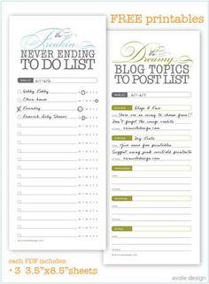 our daily obsessions: Organization: free organization list printables Printable Planner, Free Printables, Printable Tabs, Blogging, Tips & Tricks, Branding, Blog Topics, Getting Organized, Bujo
