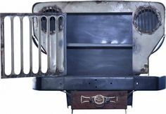 An old abandoned military Jeep from the Indian Army was repurposed into a beautiful cabinet. An awesome way of giving a second life to this old Jeep! Car Furniture, Automotive Furniture, Recycled Furniture, Recycled Art, Repurposed, Jeep Wrangler Sport Unlimited, Military Jeep, Vintage Jeep, Old Jeep