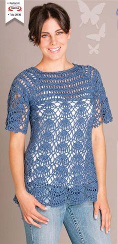 Hermosa blusa tejido con hilaza trigo.