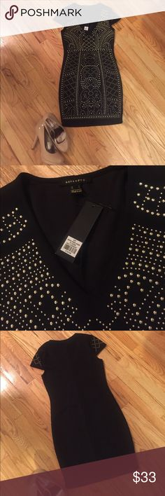NWT black beaded dress!! NWT black beaded dress size S!! Deep v, detailed bead work and its sleek nature makes it the perfect going out dress! Make me an offer :) revamped Dresses