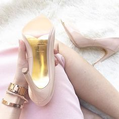 "These gold-sole nude pumps are DREAMY! It even says on the bottom ""Cinderella is proof that a pair of shoes can change your life"""