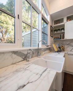Statuario marble benchtop and splashback Granite Benchtop, Statuario Marble, Engineered Stone, Splashback, Natural Stones, Kitchen Dining, Bathtub, Windows, Dream Kitchens