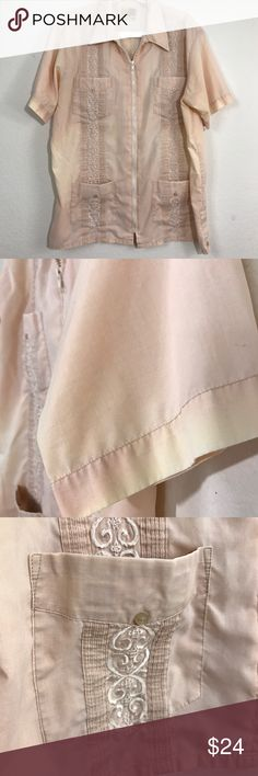 "The Genuine Haband Guayabera Shirt Zipper Front LG The Genuine Haband Guayabera Shirt Zipper Front Wedding Cuban Cigar Large EUC  This is a light peach with a faded in and out design IT IS SUPPOSED TO BE THIS WAY.   Please see photos as we do consider them to be a part of the description.   Approximate measurements laying flat  Collar to shoulder 6.5"" Shoulder to end of sleeve 10"" Across chest pit to pit 25"" Length shoulder to hem 28"" Haband Guayabera Shirts Dress Shirts"