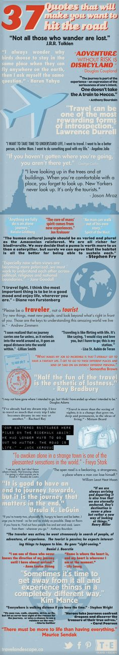 37 Inspirational Travel Quotes all in one image. #quote #travel