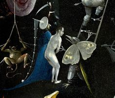 Hieronymus Bosch - The Garden of Earthly Delights, right panel - Detail Monkey, man with blue clothes and Butterfly monster Medieval Art, Garden Of Earthly Delights, Detail Art, Hieronymus Bosch, Art Corner, Bosch, Art, Medieval Paintings, Hieronymous Bosch