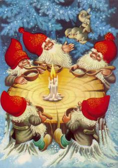 Lars Carlsson: Some cheerful gnomes sharing supper around a candle. Swedish Christmas, Christmas Gnome, Scandinavian Christmas, Christmas Post, Illustration Noel, Christmas Illustration, Vintage Christmas Cards, Christmas Pictures, Yule