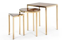 Go for on trend brass with the Nova set of three nesting side tables, £229. Made.comWhen you're entertaining, it's always useful to have a few extra areas for perching a glass of this or that and a bowl of nibbles. This is when a nest of tables comes into its own. These are the best nesting tables to home in on now.Go all Bauhaus with the Bauhaus Satztisch (1926) nesting tables E1,795, Heimat WerkLook for nesting tables that tuck neatly inside each other and are easy to pull out when needed.&nb  Side Table Lamps, Brass Side Table, Modern Side Table, Side Tables, Living Room Plan, Living Room Decor, Nesting Tables, Messing, Solid Oak