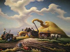 Dawn on the Farm, Rice Harvest. Thomas Hart Benton