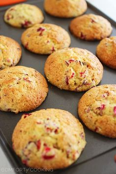 The Comfort of Cooking » Glazed Cranberry Orange Muffins. I used 1/2 cup dried craisins and 3/4 cup sugar.