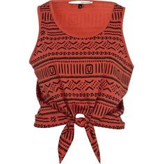 River Island Red aztec print tie front crop tank ($9.14) ❤ liked on Polyvore featuring tops, shirts, tank tops, tanks, reversible tank top, cropped tops, crop tank, aztec tank top and aztec print shirt