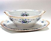 Vintage Noritake Gravy Boat with attached Underplate. Cr. 1948, Discontinued Violette Pattern  I take CREDIT CARDS