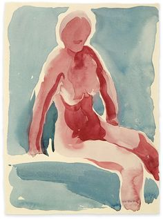 Georgia O'Keeffe  watercolor nude self-portrait