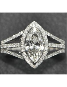 CHARLES&COLVARD Brand Center 2.2 Carat Marquise Cut Diamond Halo Engagement Ring Lab Grown Moissanite Diamond 14k White Gold