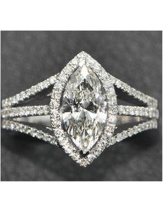 CHARLES&COLVARD Brand Center 2.2 Carat Marquise Cut Diamond Halo Engagement Ring Lab Grown Moissanite Diamond 14k White Gold