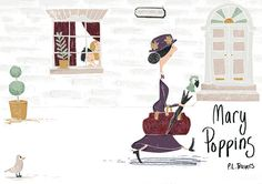 From children's illustrator Pauline Reeves.  Her take on the cover of the classic story of Mary Poppins