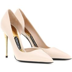 Tom Ford Patent Leather Pumps (€785) ❤ liked on Polyvore featuring shoes, pumps, heels, tom ford, neutrals, patent shoes, patent leather pumps, nude shoes, nude patent shoes and patent pumps