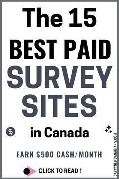 15 Best Paid Survey Sites To Make Money in Canada These 15 paid survey sites are great for Canadians to make money from home or earn extra cash fast! Check them out today and start making money from the comfort of your home. Make Money Fast, Make Money From Home, Make Money Online, Legitimate Work From Home, Work From Home Jobs, Earn Extra Cash, Extra Money, Top Paid Surveys, Survey Sites That Pay