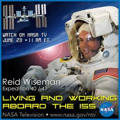 LIVE Today: Watch @Astro_Reid discuss living & working aboard the @Space_Station at 11am ET: http://www.nasa.gov/nasatv .