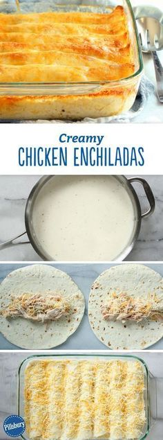 Creamy Chicken Enchiladas: just seven ingredients—and the unexpected addition of Greek yogurt makes for a rich, creamy white sauce that can't be beat. And of course, the whole thing is finished with piles of ooey, gooey cheese. Mexican Food Recipes, New Recipes, Cooking Recipes, Favorite Recipes, Special Recipes, Crockpot Recipes, Healthy Recipes, Vegetarian Recipes, Dessert Recipes