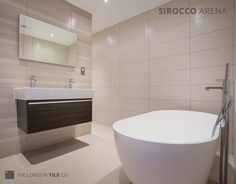 We love this bathroom with a feature wall created using our Sirocco tiles