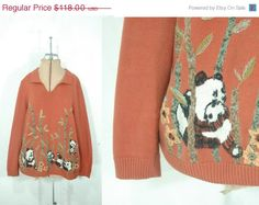 70% off SALE July 5-7// vintage 80s panda embroidered sweater // large // 1980s burnt orange lightweight cotton blend knit top