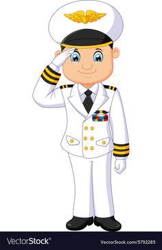 Cartoon captain respectful vector image on VectorStock