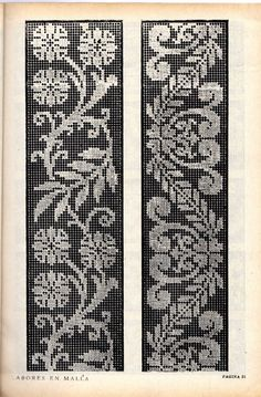 Labores en malla - lini diaz - Веб-альбомы Picasa Filet Crochet Charts, Knitting Charts, Knitting Patterns, Crochet Borders, Knitting Designs, Knitting Stitches, Crochet Patterns, Norwegian Knitting, Pillowcase Pattern