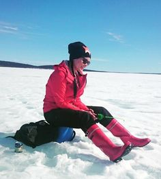 Ice fishing in red wellies Red Wellies, Wellington Boot, Rain Wear, Lady, Rain Boots, High Heels, Bomber Jacket, Winter Parka, Leather Jacket