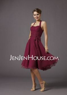 Bridesmaid Dresses - $93.99 - A-Line/Princess Halter Knee-Length Chiffon Bridesmaid Dresses With Ruffle (007001816) http://jenjenhouse.com/A-line-Princess-Halter-Knee-length-Chiffon-Bridesmaid-Dresses-With-Ruffle-007001816-g1816