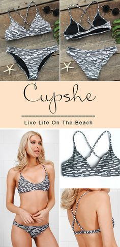 Simplicity is key, especially in this bikini set. It is detailed with the contrast color printing and triangle support. If you are looking for something new for beach, then this is what you need.