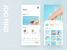 Joo Find search white news photo color blue ui design app Web Design, App Ui Design, Flat Design, Design Layouts, Graphic Design, Interface Web, User Interface Design, Ui Kit, Apps